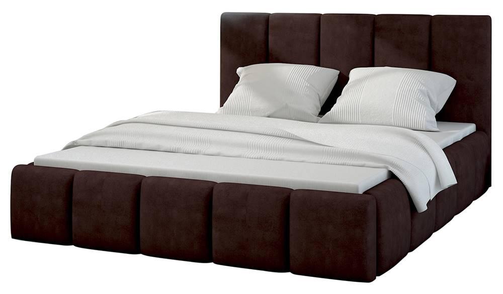 NABBI Evora 180 čalúnená manželská posteľ tmavohnedá (Jasmine 29)